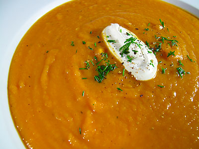 Butternut Squash Soup with Brown Butter, Sage and Nutmeg Creme Fraiche ...