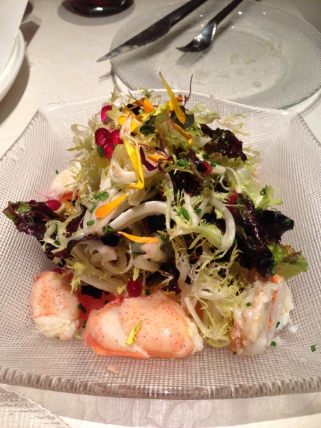 maine lobster salad with citrus and frisée