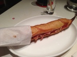 flauta bread brushed with fresh tomato, extra virgin olive oil and serrano ham