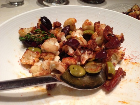 sautéed cauliflower with dates and olives